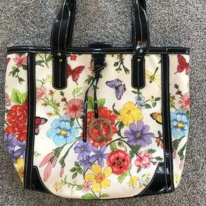 Talbots Floral Butterfly Tote w/ Patent Leather